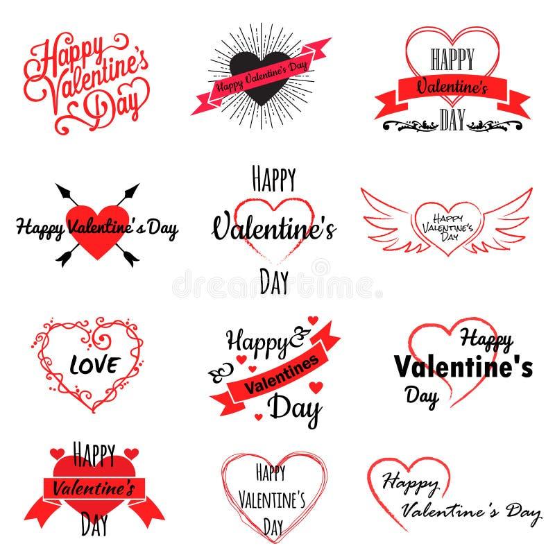 Ställ in av valentindaglogoer, symboler med hjärtor och inskrifter, vektorillustration royaltyfri illustrationer
