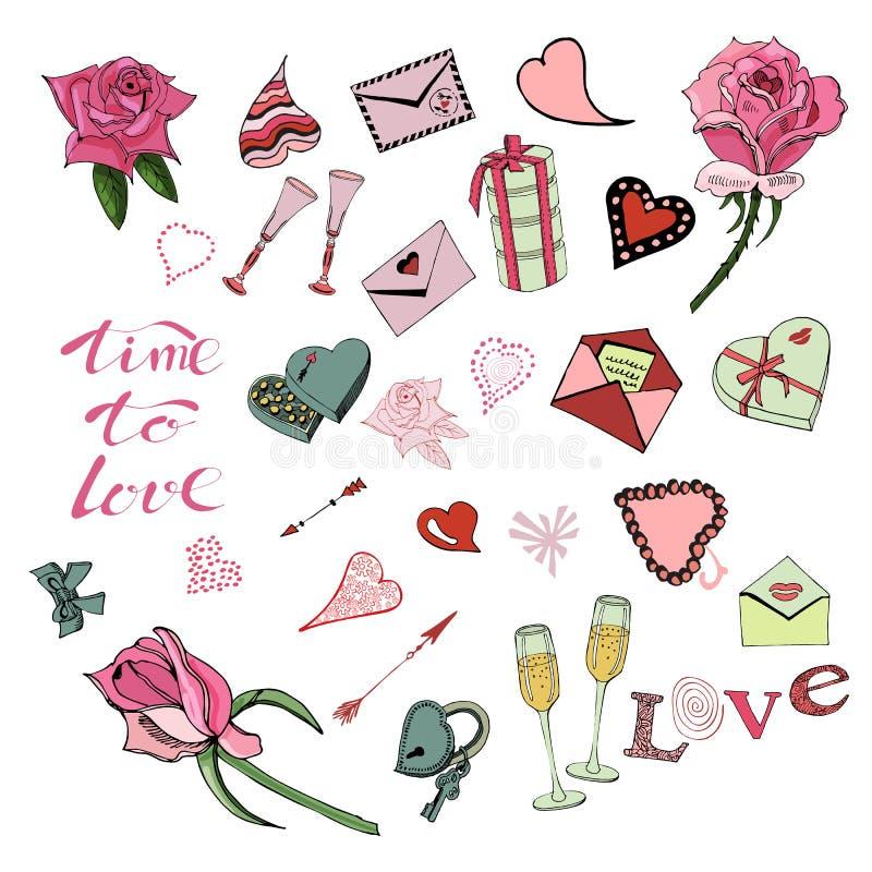 Ställ in av valentins beståndsdelar för klotter för dagtema, rosor, bokstäver och olika objekt Handen som dras och den färgas, sk vektor illustrationer