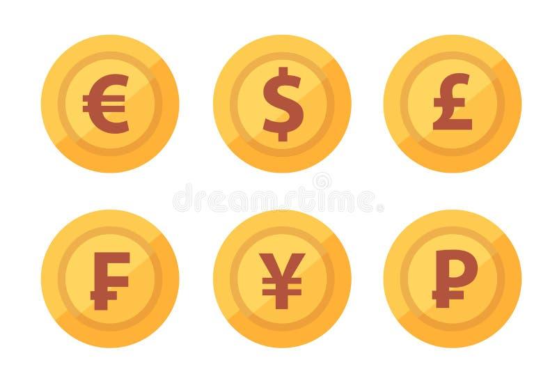 Ställ in av valutamyntsymbolen som isoleras på vit genomskinlig bakgrund i vektor vektor illustrationer