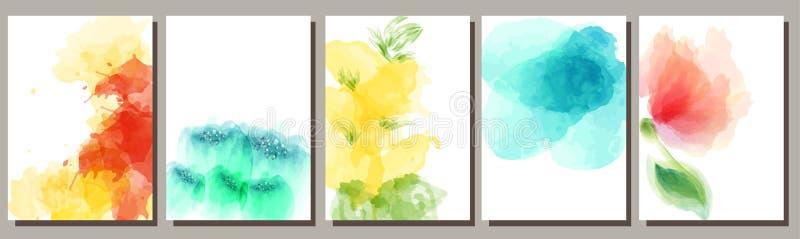 Ställ in av vattenfärgbakgrunder, blommor, design av vykort, inbjudningar, annonseringar stock illustrationer