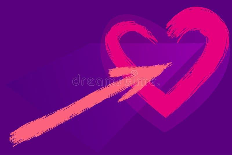 Ställ in av vattenfärgborsteformer Hjärta och pil av korallblommor på ultraviolett bakgrund stock illustrationer