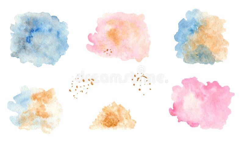 Ställ in av vattenfärgfläckar och färgstänk En samling av enh?rningar stock illustrationer