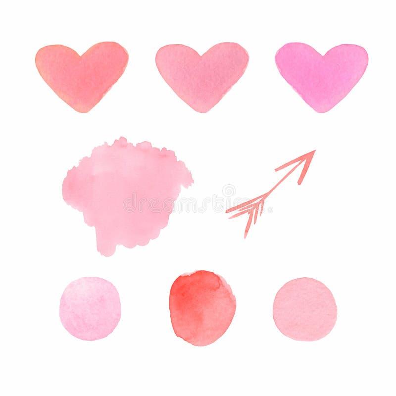 Ställ in av vattenfärgformer i röda och rosa färger förälskelsehjärtor, fläckar, fläckar och pil royaltyfri illustrationer