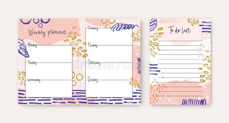 Ställ in av veckostadsplanerare- och till-göra-listan mallar som dekoreras av färgrika borsteslaglängder och sudd Plan schema vektor illustrationer