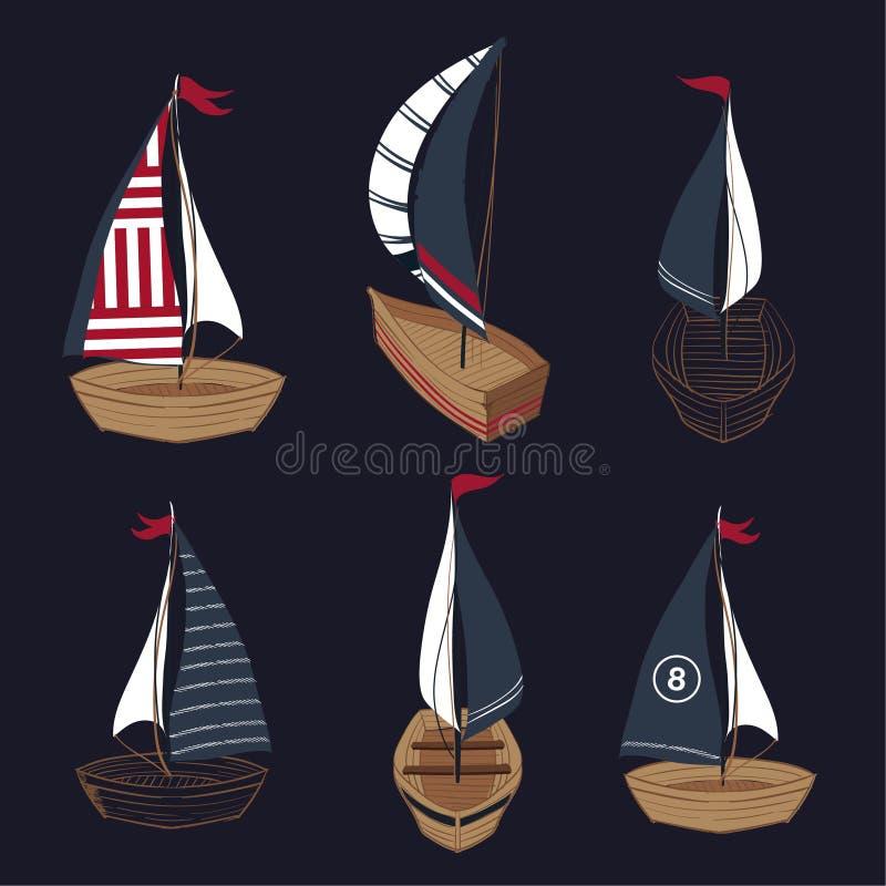 Ställ in av vektor för samling för fartyg för sommarhand utdragen royaltyfri illustrationer
