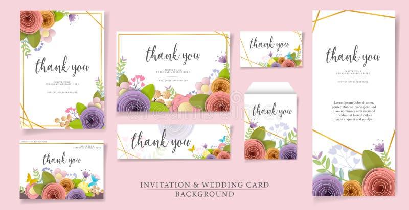 Ställ in av vektor- och illustrationinbjudan eller bröllopkortdesign pappers- blommor för hantverk, vår, höst, bröllop och valent royaltyfri illustrationer