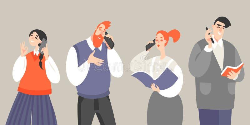 Ställ in av vektorillustrationer av folk som talar på mobiltelefoner vektor illustrationer
