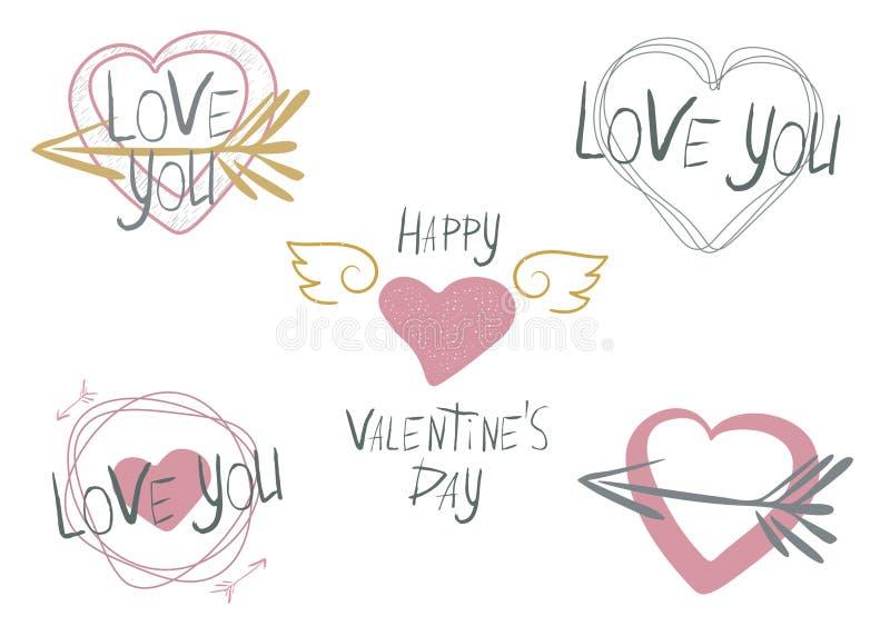 Ställ in av 5 vektorillustrationer på temat av valentins dag royaltyfri illustrationer