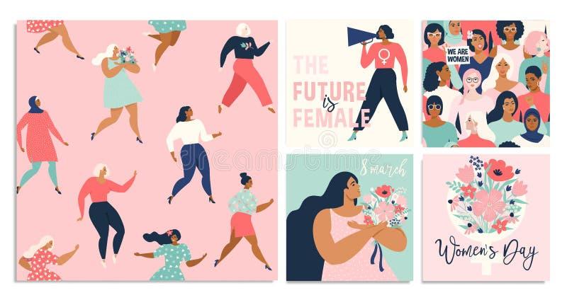 Ställ in av vektorillusttation 8 mars, internationella kvinnors dag stock illustrationer