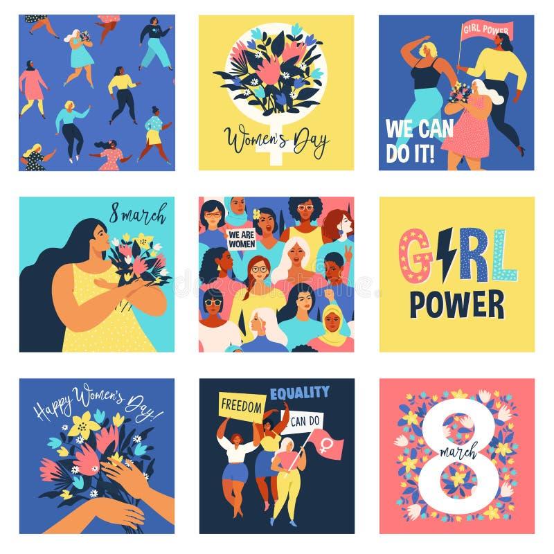 Ställ in av vektorillusttation 8 mars, internationella kvinnors dag Design för feminismbegreppsmall stock illustrationer
