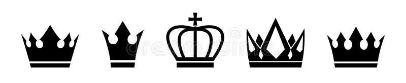 Ställ in av vektorkronan royaltyfri illustrationer