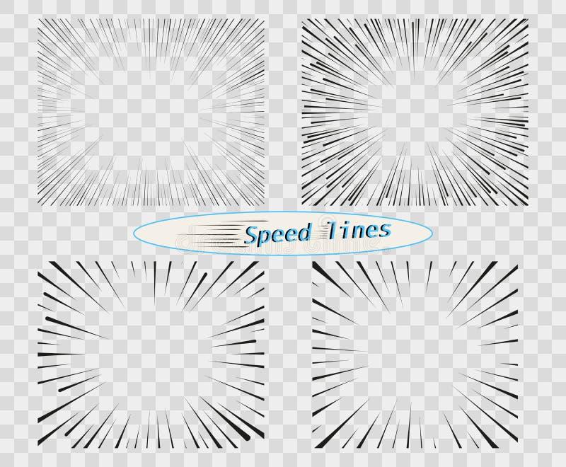 Ställ in av vektorlinjer av olika varianter av det enkla horisontal hastighet rörelse Manga tecknad filmdesign för humorböcker royaltyfri illustrationer