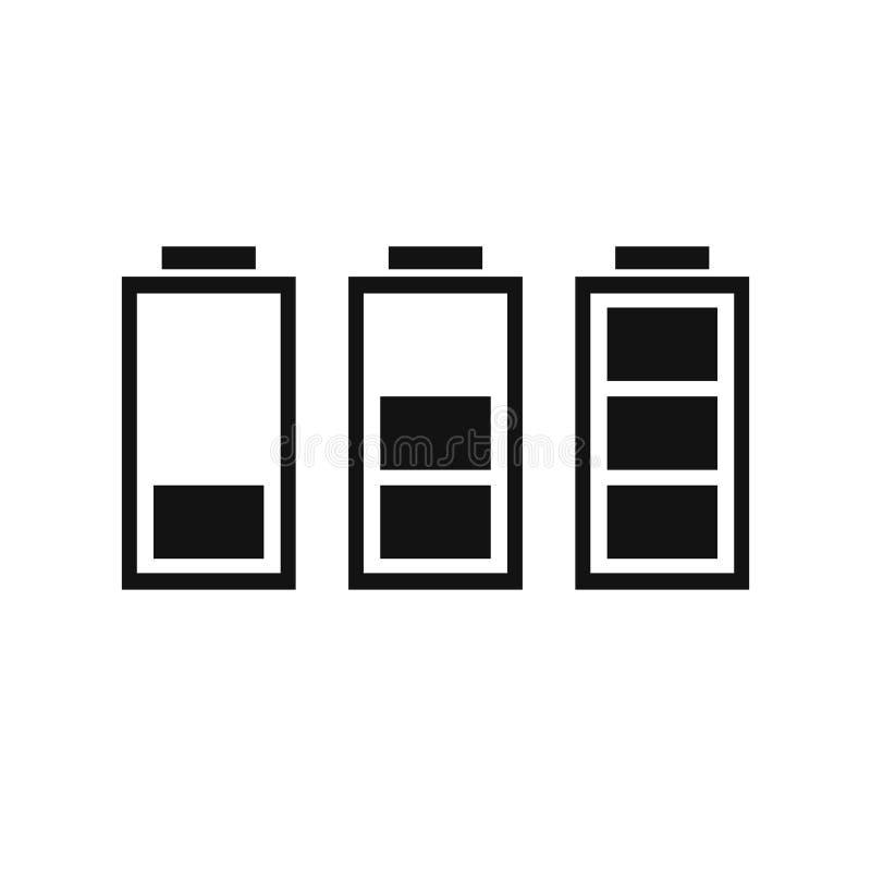 Ställ in av vektorn EPS10 för jämna indikatorer för batteriladdningen stock illustrationer