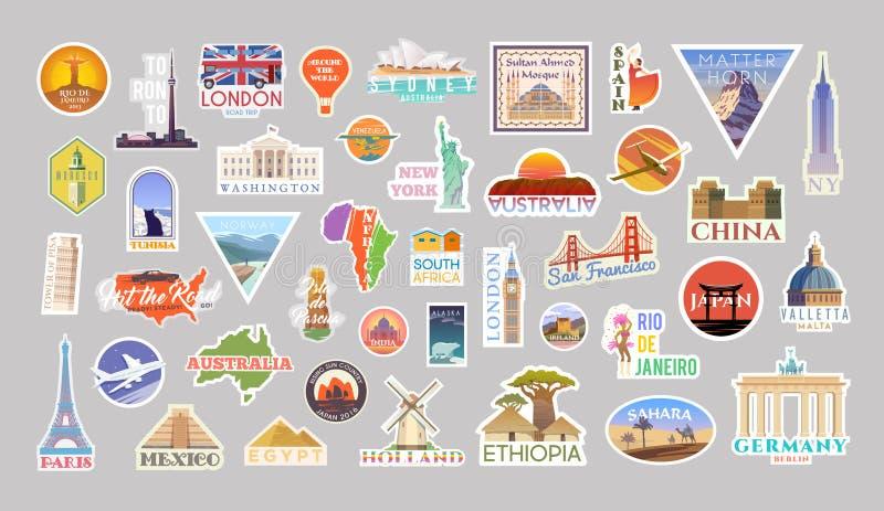 Ställ in av vektorn som reser klistermärkecolliction runt om världen royaltyfri illustrationer