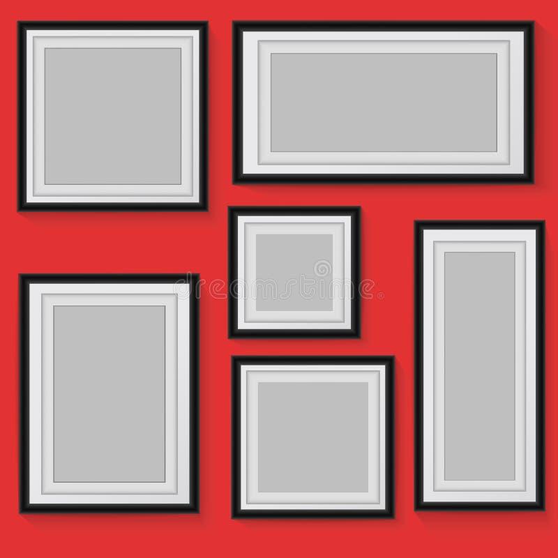 Ställ in av vektorramar på bakgrund stock illustrationer