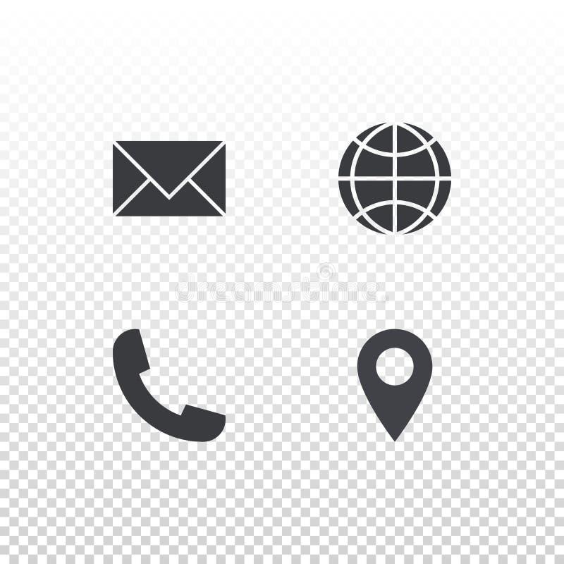 Ställ in av vektorsymbolen för designaffärskort, website eller nobile app Kuvert-, jordklot-, telefon- och etikettssymboler vektor illustrationer