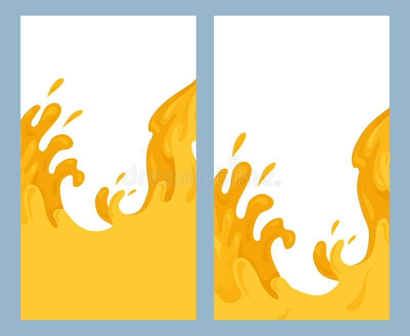 St?ll in av vertikala baner med den plana illustrationen av h?llande fruktsaft Nektarfl?de Str?mmar och droppar av saftigt vatten stock illustrationer
