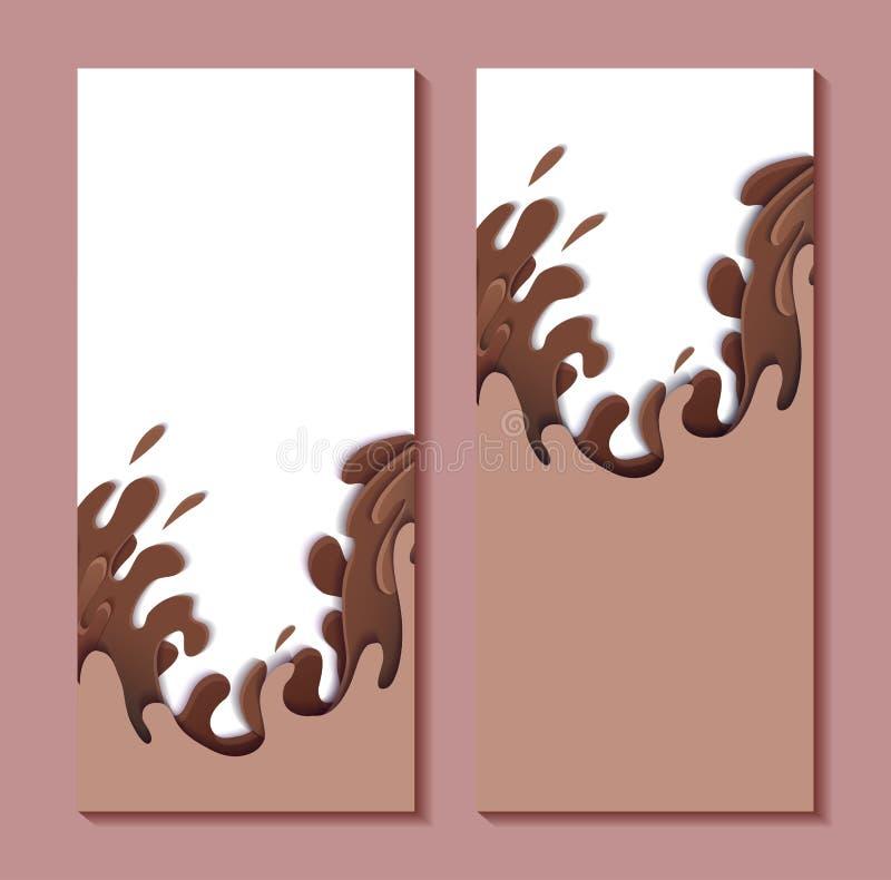 Ställ in av vertikala baner med papper klipper söta vågor av choklad räkning 3D med strömmar och droppar av vatten kantlagrar l?t stock illustrationer