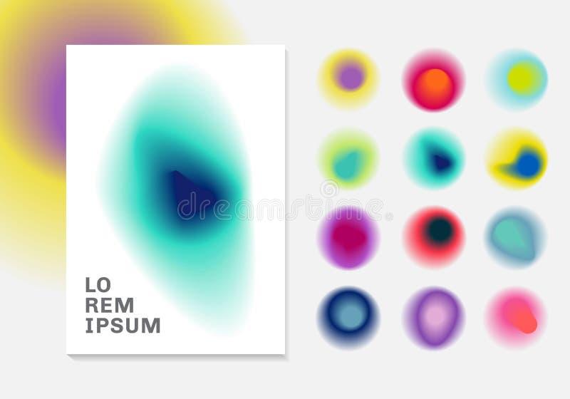 Ställ in av vibrerande lutningsuddighetsbakgrund Moderna designer för abstrakta färgrika lutningar royaltyfri illustrationer