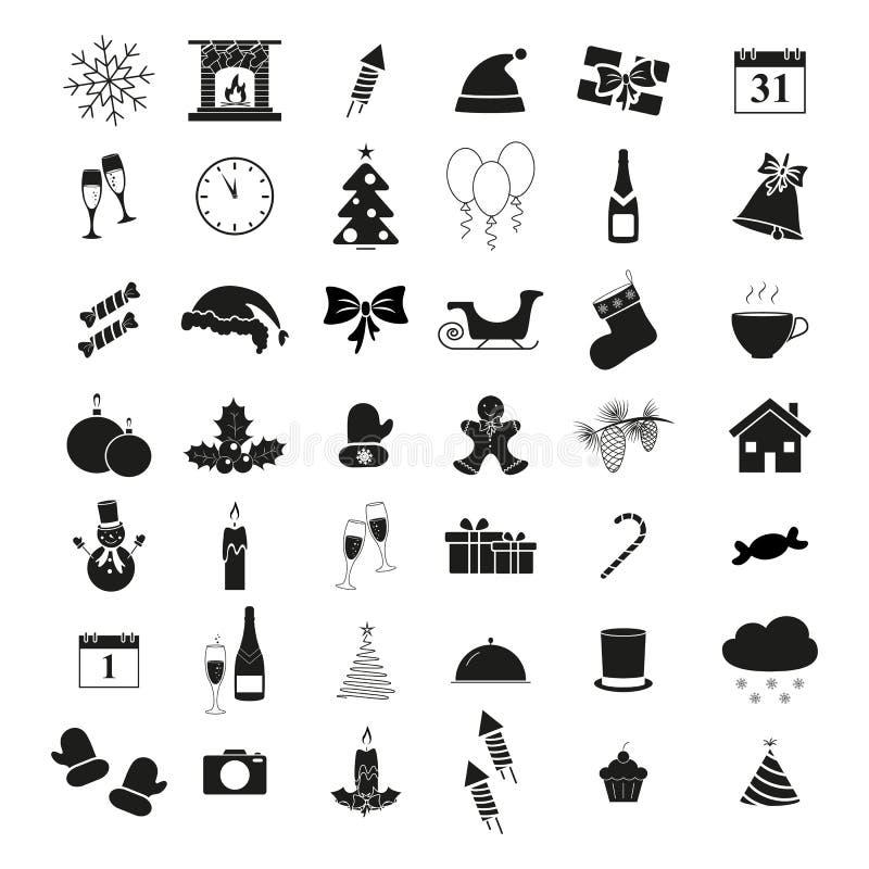 Ställ in av vintersymboler semestrar jul och nytt år vektor illustrationer