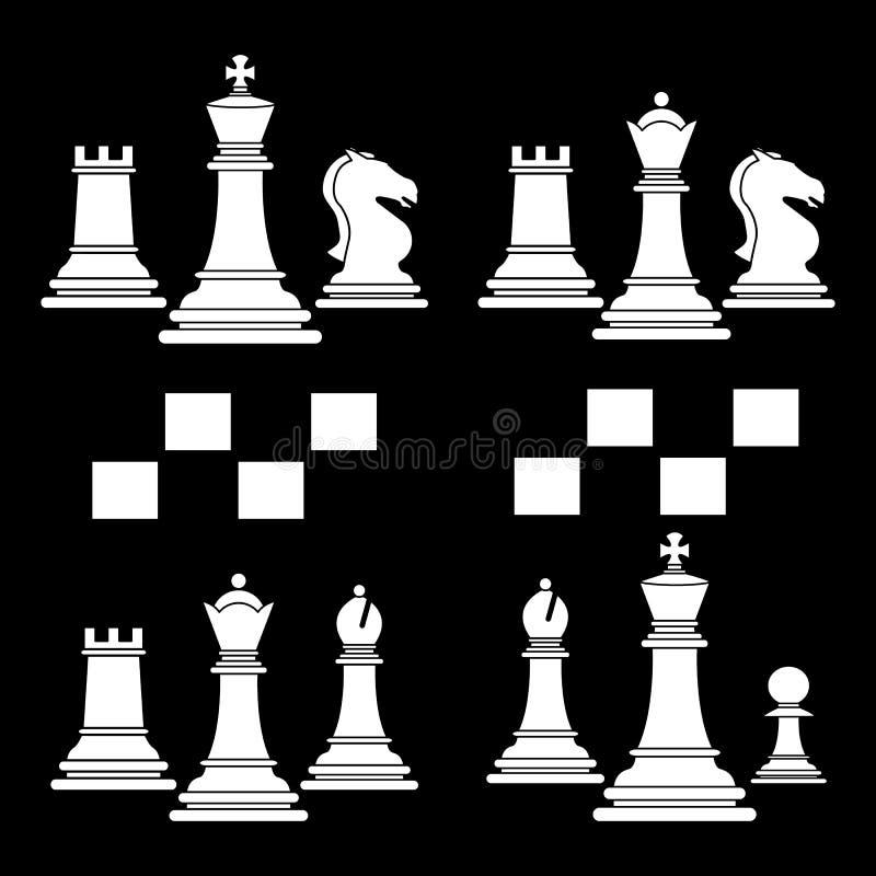 Ställ in av vit för symbol för lek för schackklubba vektor illustrationer