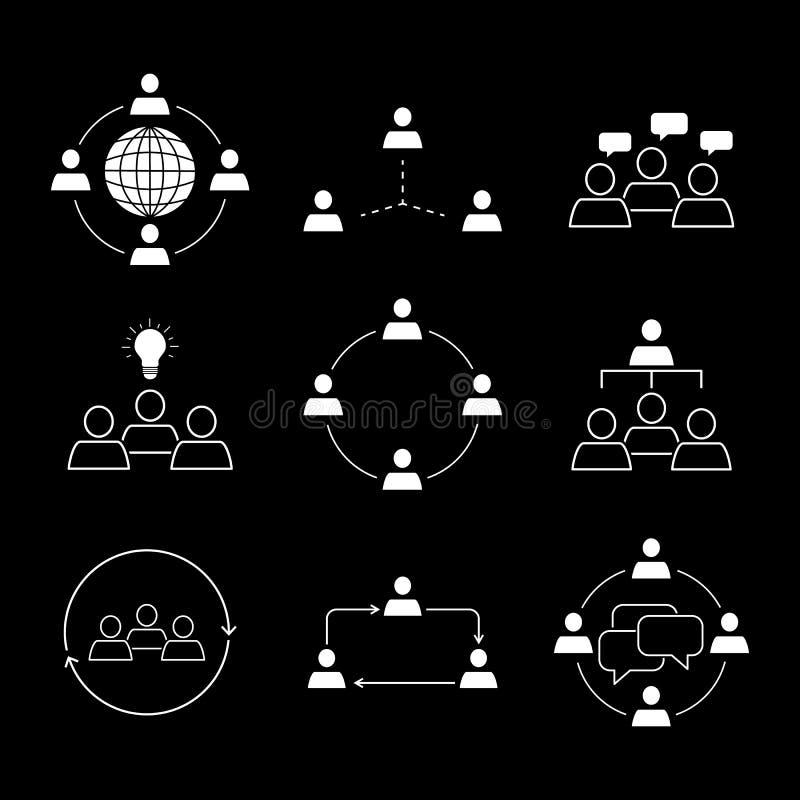 Ställ in av vit för symboler för lagarbetskommunikation stock illustrationer