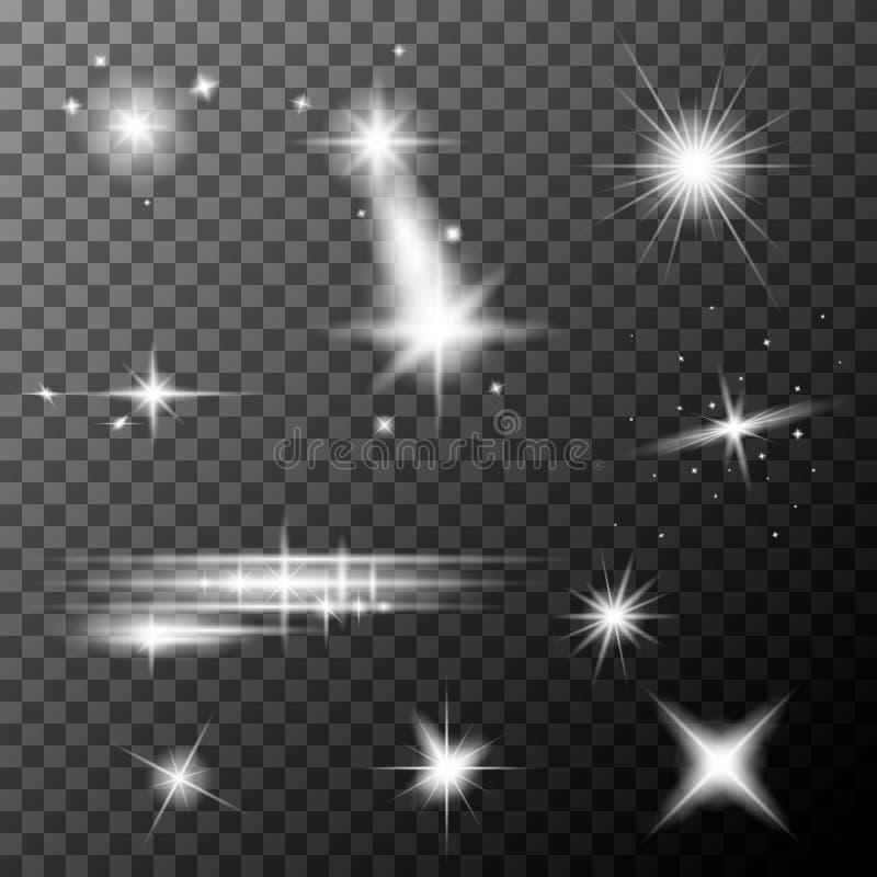 Ställ in av vita linssignalljus Vit mousserar special ljus effekt för sken vektor illustrationer