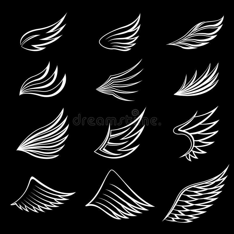 Ställ in av vita vingar på svart bakgrund vektor illustrationer