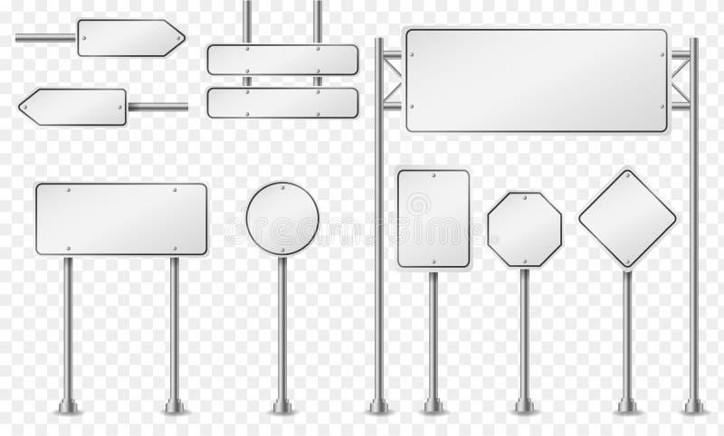 Ställ in av vitt ljus - gråa vägmärken royaltyfri illustrationer