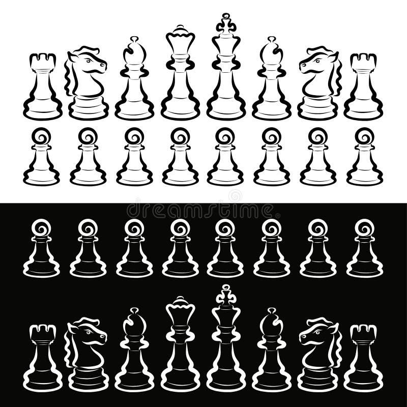 Ställ in av vitt och svart schack, rivalitet, intellektuell lek vektor illustrationer