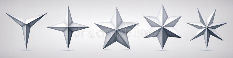 Ställ in av volymetriska vektorstjärnor Tre, fyra, fem, sex och sju kolformer, geometriform, abstrakt vektor royaltyfri illustrationer