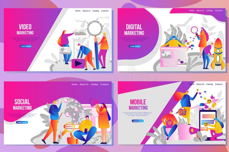 Ställ in av webbsidadesignmallar för socialt massmedia som marknadsför begrepp royaltyfri illustrationer
