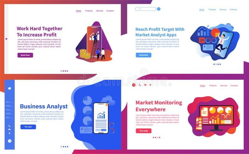 Ställ in av websitemallbegrepp för website, och mobila apps planlägger stock illustrationer