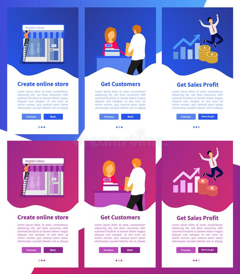 Ställ in av websitemallbegrepp för website, och mobila apps planlägger royaltyfri illustrationer