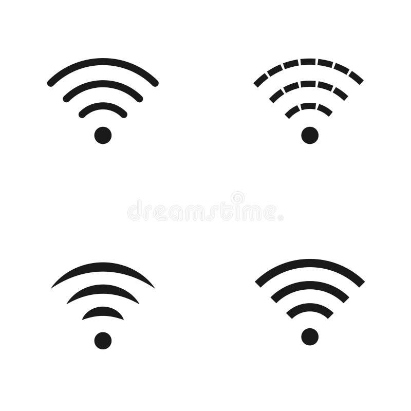 Ställ in av wifisymboler som isoleras på vit bakgrund stock illustrationer