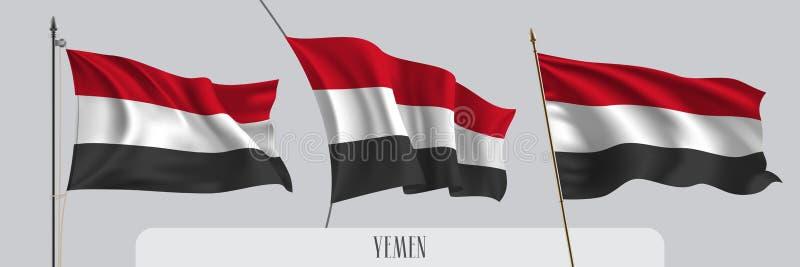 Ställ in av Yemen den vinkande flaggan på isolerad bakgrundsvektorillustration vektor illustrationer