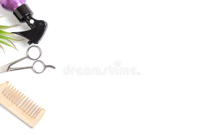 Ställ in av yrkesmässig frisörhjälpmedelutrustning på vit bakgrund - sax, trähårkam och sprej - begreppet för hårstylisten med royaltyfri fotografi