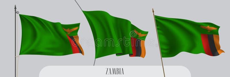 Ställ in av Zambia den vinkande flaggan på isolerad bakgrundsvektorillustration royaltyfri illustrationer