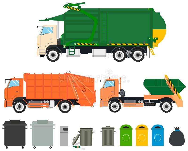 Ställ in avskrädelastbilar stock illustrationer