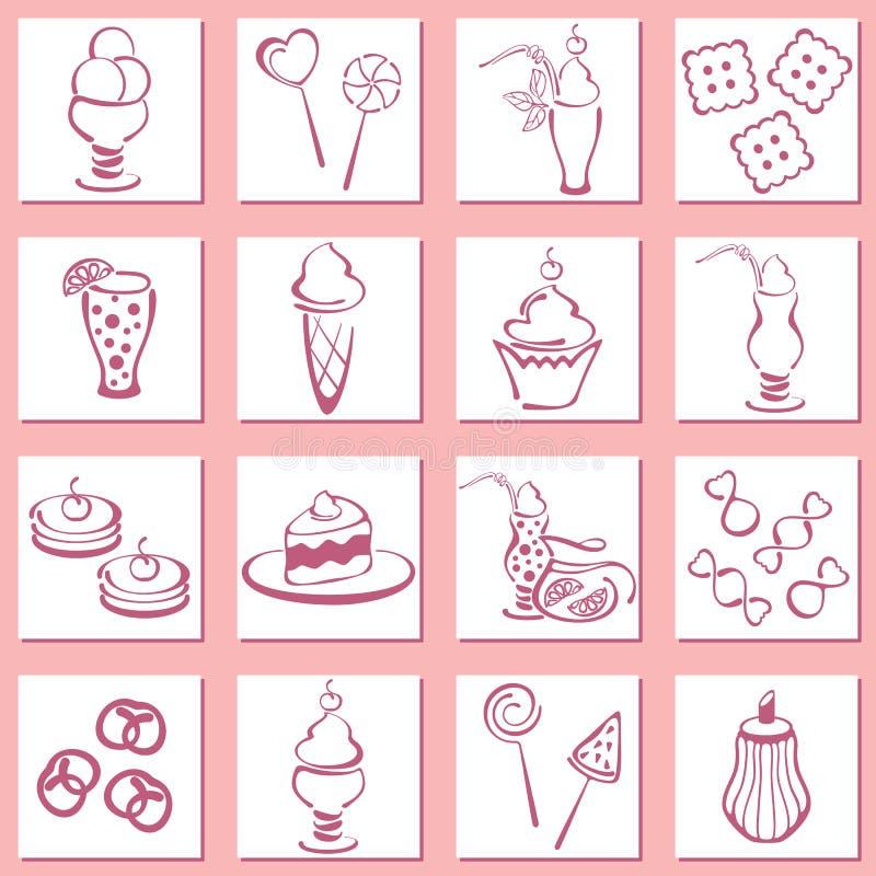 Ställ in bakelsesymboler stock illustrationer