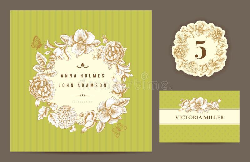 Ställ in bakgrunder för att fira bröllopet. royaltyfri illustrationer