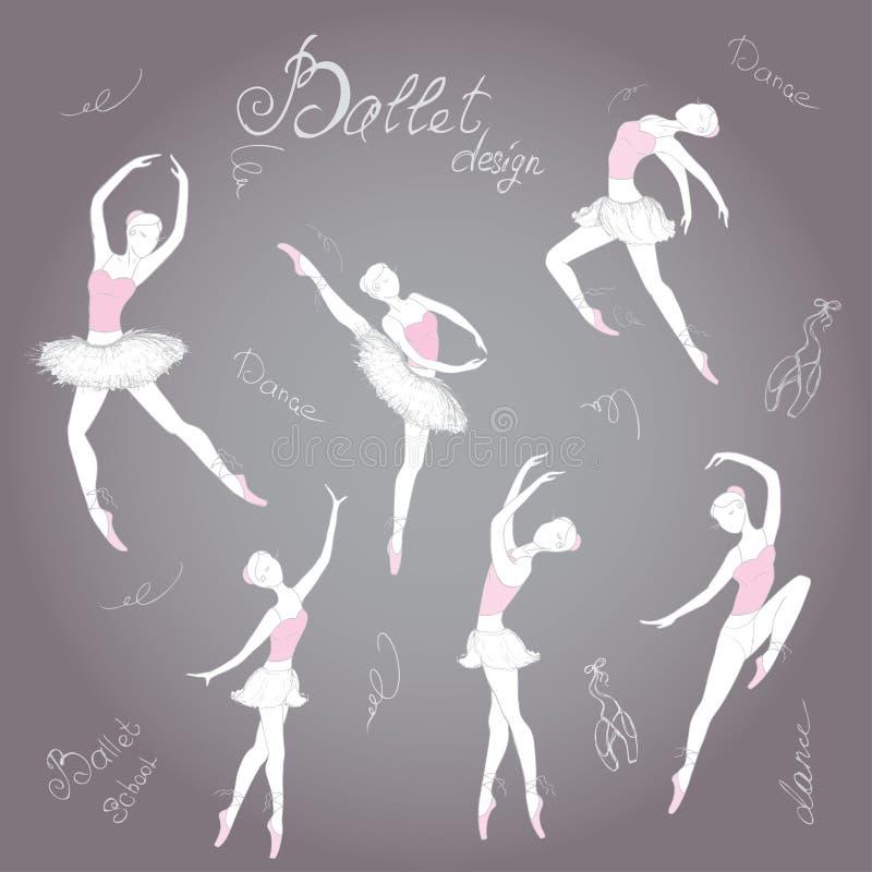 Ställ in balettdansörer, hand dragen bakgrund, vektorillustration vektor illustrationer