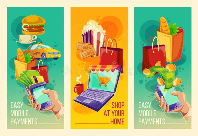 Ställ in baner som visar lättheten och bekvämligheten av online-betalningar i tecknad filmstilen stock illustrationer