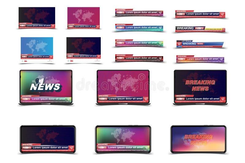 Ställ in banerbreaking newsmallen i realistisk smartphone- och varvöverkant med manöverenhetsvideospelaren på vit bakgrund Begrep vektor illustrationer