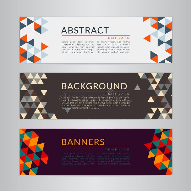 Ställ in banersamlingen med polygonal mosaikbakgrunder för abstrakt mjuk färg vektor illustrationer