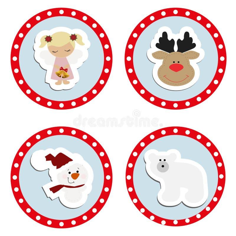Ställ in behandla som ett barn julklistermärkear Samling av emblemetiketter vektor illustrationer