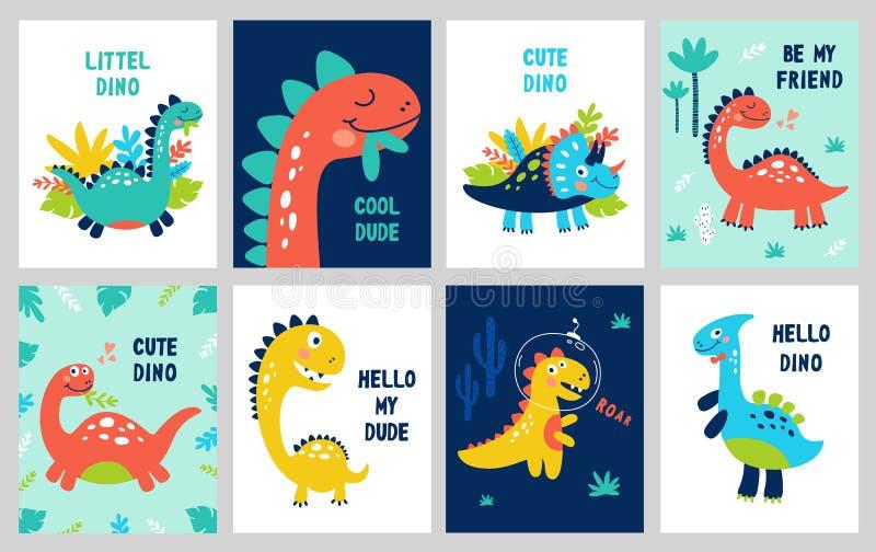 Ställ in behandla som ett barn trycket med Dino Kan användas för affischen, kortet, banret, reklamblad tecknad handvektor vektor illustrationer