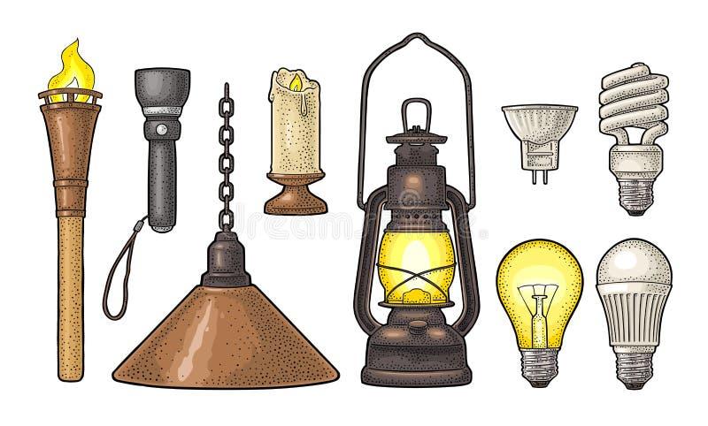 Ställ in belysningobjekt Tända eld på, undersöka, ficklampan, elektriska lampor för olika typer royaltyfri illustrationer