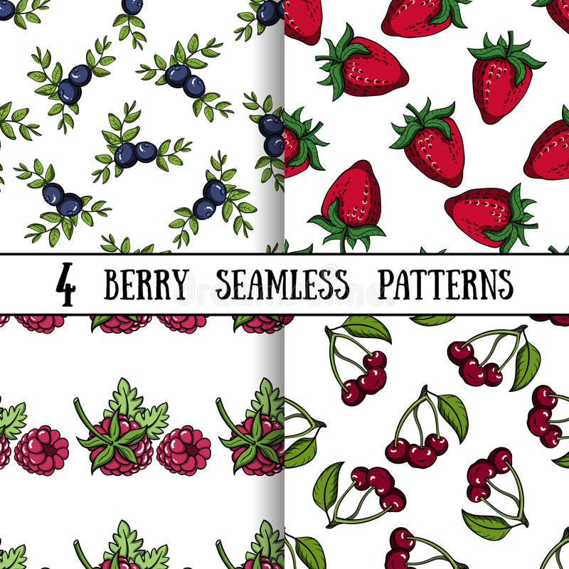 Ställ in Berry Patterns stock illustrationer