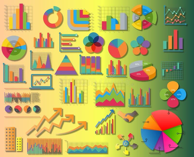 Ställ in beståndsdelar av illustrationen för information graphics royaltyfri illustrationer